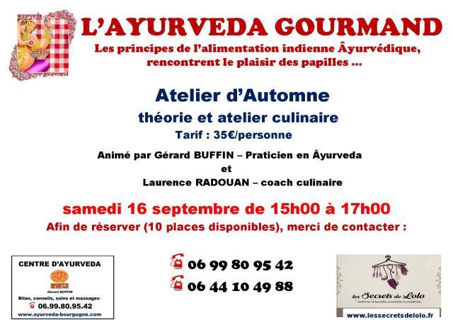 AFFICHETTE ATELIER L AYURVEDA GOURMAND AVEC LOLO AUTOMNE 2017 -2