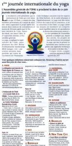 ARTICLE 1ERE JOURNEE MONDIALE DU YOGA