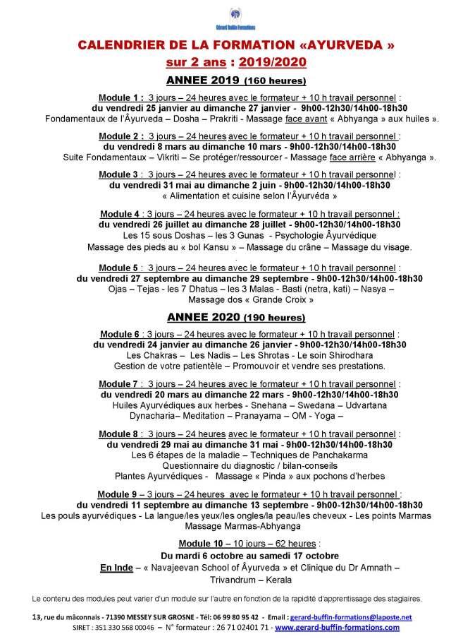 CALENDRIER DES MODULES SUR 2 ANNEES 2019-2020