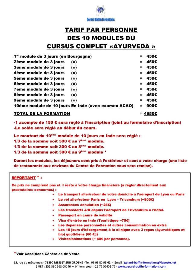 TARIFS DES 10 MODULES DU CURSUS COMPLET