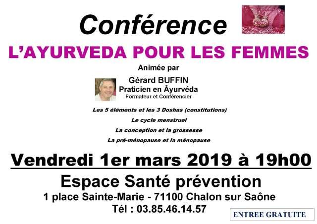 AFFICHETTE CONF CHALON PREVENTION SANTE L 'AYURVEDA POUR LES FEMMES 1ERMARS 2019