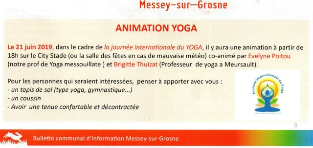 JOURNEE INTERNATIONALE DU YOGA A MESSEY SUR GROSNE JUIN 2019